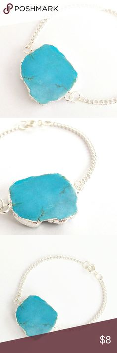 """Genuine turquoise howlite stone bracelet True beauty in simplicity!  A genuine turquoise howlite stone takes center stage in this classic design, a staple in your jewelry wardrobe and a piece you'll reach for again and again!  Nickel and lead free.  About 7.25"""" long.  PRICE IS FIRM and extremely reasonable, but click """"add to bundle"""" to save 10% on your purchase of 2+ items! Jewelry Bracelets"""