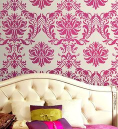 Damask Stencil Gabrielle - Reusable stencils for walls and fabrics - DIY wall decor. $49.95, via Etsy.