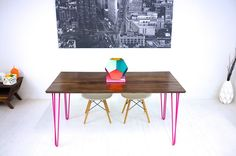 Midcentury Modern Solid Walnut Table, Modern Dining Table,  Powder Coated Hairpin Legs, Pink, White, Teal Legs.