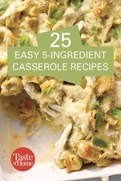 25 Easy Casserole Recipes - - Get ready for the easiest meal ever, thanks to these simple casserole recipes that come together with 5 ingredients or less. Easy Breakfast Casserole Recipes, Potluck Recipes, Casserole Dishes, Easy Dinner Recipes, Easy Meals, Cooking Recipes, Rice Recipes, Recipies, 5 Ingredient Dinners