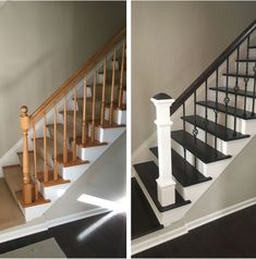 32 Incredible DIY Staircase Makeover Ideas to Refresh the Entire Home Atmosphere - Einrichtung - Escadas Staircase Remodel, Staircase Railings, Banisters, Staircase Design, Stairways, Modern Staircase, Staircase Ideas, Painted Staircases, Black Staircase