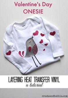 Tutorial on how to make a Valentine's Day Onesie using your Silhouette®️️ machine and heat transfer vinyl.