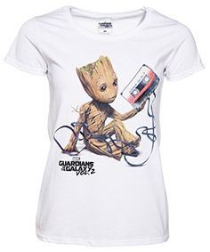 53fe0f0fdc38 Womens White Baby Groot and Cassette Guardians of The Galaxy T Shirt: Amazon .co.uk: Clothing