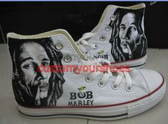 custom converse bob marley handpainted shoes by customyourshoes, $129.99