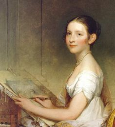 1808 Gilbert Stuart (1755-1828) Lydia Smith. A young lady painting in watercolours.