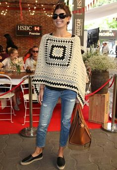 Grey and off white granny square crochet poncho