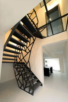 Mieszkanie Jaworzno: Minimalist Interior of A Beautiful House with Colorful and Rustic Design Interior Stairs, Interior Architecture, Interior Design, Escalier Design, Metal Stairs, Stairway To Heaven, Stair Railing, Staircase Design, Prefab