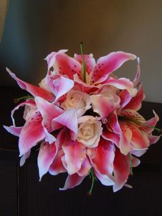 Pink Oriental Lily Bouquet by How Divine - https://www.howdivine.com.au/store/product/pink-oriental-lily-white-rose-real-touch-bouquet