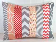 Pillow Cover - Lumbar Pillow Cover - 12 x 16 Inches - Coral, Peach and Gray