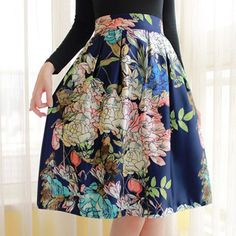 Womens Vintage Hepburn Floral Print Elastic Waist Pleated A Line Swing Flared Midi Skirt-in Skirts from Women's Clothing & Accessories on Aliexpress.com | Alibaba Group