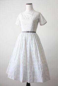 1950s dress  ice white eyelet dress.