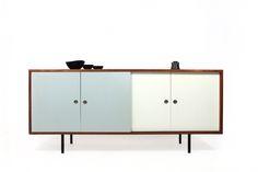 60er Sideboard l Einzelanfertigung l Dänemark frühe 60er Jahre l 4 Schiebetüren lackiert l Muldengriffe l ca. 200x85x55cm l nice vintage fur...