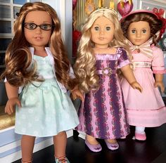 In honor of Caroline's birthday, here is a photo of her with her friends, Lea and Marie Grace.  They were celebrating Valentine's Day.  These girls know how to throw a party. 😄💕 #aggoty #joy2everygirl #famousdolls #goty2016 #leaclark #carolineabbott #mariegracegardner #agdolls #agdoll #agig #americangirldoll #americangirlbrand