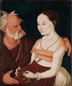 Unlikely Couple, by Hans Baldung Grien, 1528.  She looks like she's decided she'd rather die!!