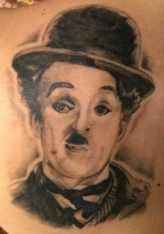 Charlie Chaplin Black and White Portrait done by Rocky Brooks at Johnny's Tattoos