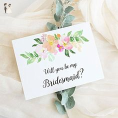 Will You Be My Bridesmaid Card, Wedding Party Proposal Card Choose Maid of Honor, Flower Girl, Wedding Attendant (set of 4 - 8), WYB-17PLC - Wedding party invitations (*Amazon Partner-Link)
