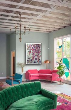 THE FIG HOUSE LOUNGE by Emily Enderson. Here she uses Farrow & Ball's classic mint, Teresa's Green, to create a lovely Art Deco inspired lounge. Inspire Me Home Decor, My Living Room, Living Spaces, Cozy Living, Living Area, Teresas Green, Rosa Sofa, Decoracion Vintage Chic, Pink Sofa
