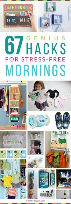 DIY Hacks, Tips & Tricks for Stress-Free Mornings with Kids. DIY Organization ideas for back-to-school, including morning routine checklists, clothes organization, backpack nooks & more! These are the perfect tips for moms this school year! Organisation Hacks, Clothing Organization, Kids Clothes Organization, Organizing Ideas, Homework Organization, Back To School Organization, Organizing Life, Bathroom Organization, Kids And Parenting