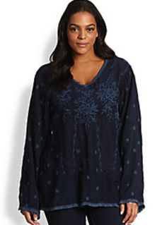Johnny Was Plus Size Embroidered Navy V-Neck Top