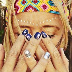 Bohemian arrow silver and navy #nails art #mani