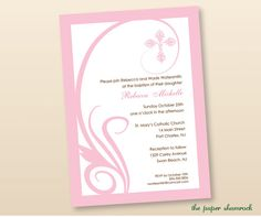 Swirl First Communion Invitations Baptism by ThePaperShamrock, $10.00