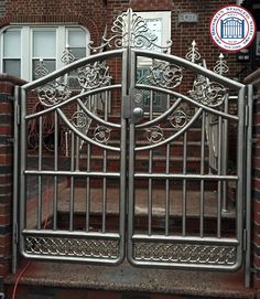 Stainless Steel Works Gallery - BrooklynStainlessSteel.com - Brooklyn Stainless Steel Front Door Design Wood, Front Gate Design, Door Gate Design, Steel Bed Design, Steel Railing Design, Window Grill Design Modern, Balcony Grill Design, Wrought Iron Driveway Gates, Stainless Steel Gate