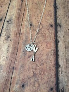 Oars initial necklace - silver oars charm, gift for rower, rowing crew necklace by kimsjewelry on Etsy