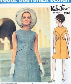 1960s Valentino Mod Dress Pattern Vogue Couturier Design 2063 Vintage Sewing Pattern Lovely High Waist Dress Seam Interest  Jewel Neckline
