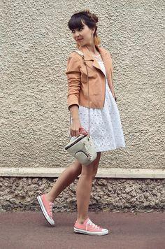 Vero Moda Peach Jacket, White Dress, Kipling Camera Case Holder, Converse All Star. http://lookbook.nu/hellovalentine