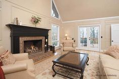 Painted wood paneling with contrasting mantle