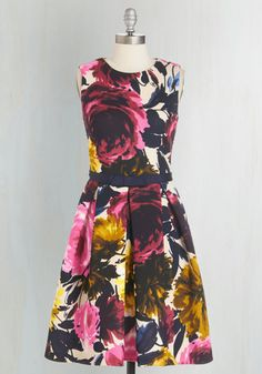 Rosy Does It Dress - Multi, Floral, Pockets, Daytime Party, Graduation, A-line, Sleeveless, Mid-length, Knit, Pleats, Work
