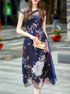 Shop Midi Dresses - Vintage Floral Two Piece Buttoned Short Sleeve Midi Dress online. Discover unique designers fashion at StyleWe.com.