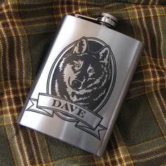 NEW!  Personalized Wolf Flask Birthday Present Gift Idea for Boyfriend, Husband, Dad, Flask for Man