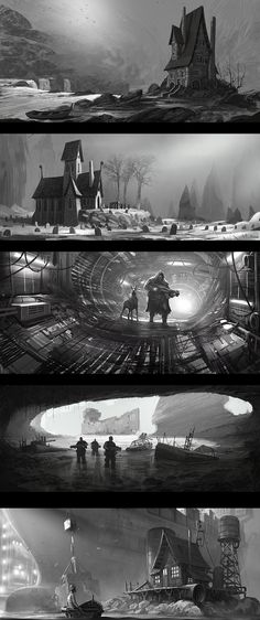 black and white speedpaint concept on Behance