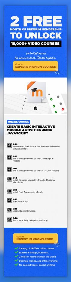 Create basic interactive Moodle activities using JavaScript Technology, Web Development, Prototyping, Responsive Web Design, Javascript, HTML5, JQuery, Moodle #onlinecourses #learningathomeactivities #onlinecollegetips   An introduction on how to make your own interactive activities in Moodle using a free open source component that allows you to experiment and create JavaScript based activities. N...