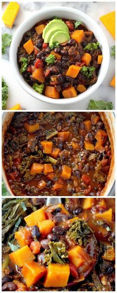 Spicy Sriracha Black Bean and Butternut Squash Chili Recipe - Healthy comfort food at its best! Visit Sriracha Box Now! Chili Recipes, Veggie Recipes, Soup Recipes, Whole Food Recipes, Vegetarian Recipes, Dinner Recipes, Cooking Recipes, Healthy Recipes, Vegan Meals