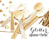 Wedding Utensils - Gold Bridal Shower Gold Bachelorette Decor - Baby Shower - Gold Birthday Party Wooden Spoons and Forks (EB3082) set of 24