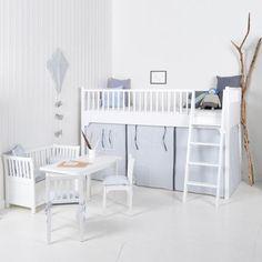 Oliver Furniture Vorhänge für Halbhohes Hochbett KIDS, gestreift in rosa oder hellblau