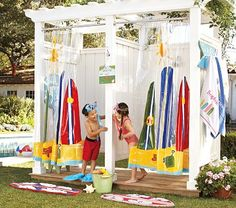 for the pool. Back deck ideas.join onto existing deck with thick canvas curtains. Outdoor Bathrooms, Outdoor Rooms, Outdoor Fun, Outdoor Living, Outside Showers, Outdoor Showers, Fabric Styles, Palet Exterior, Pool Organization