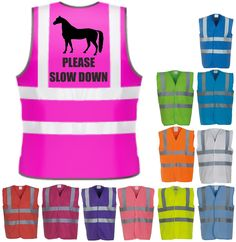 Please Slow Horse Riding Hi-Vis Visibility Safety Vest Equestrian Waistcoat Horse Supplies, Slow Down, Horse Tack, Horse Riding, Equestrian, Vest, Horses, Safety, Horse Stuff