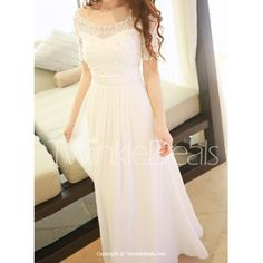 Stylish Scoop Neck Lace Spliced Diamante Decorated Short Sleeve Maxi Dress For Women - WHITE L
