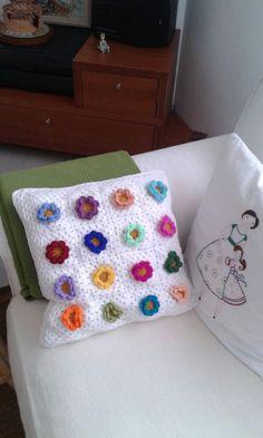 Cojines crochet rosas y cadeneta
