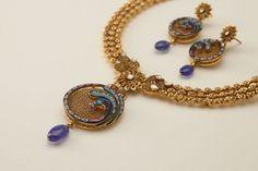 Hand-painted kundan peacock motif set in 22K oxidised gold pendant, Hazoorilal