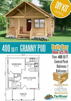 Tiny Cabins, Tiny House Cabin, Tiny House Living, Tiny House Design, Small House Floor Plans, Cabin Floor Plans, Duplex House Plans, Granny Pods, Modular Homes For Sale