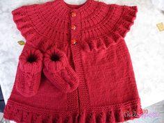 Robadan Fırfırlı Kırmızı Kız Bebek Yelek Modeli