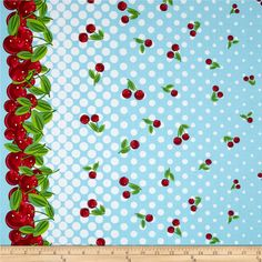 Kanvas Cherries Jubilee Cherry Galore Sky Blue from @fabricdotcom  Designed by Greta Lynn for Kanvas in association with Benartex, this cotton print fabric is perfect for quilting, apparel and home decor accents. Colors include pink, orange, blue, white, shades of red, and shades of green.