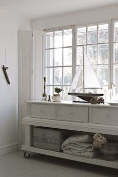 dresser remake. remove drawers & place on top. Love this look.