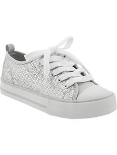 Girls Sequined Canvas Sneakers $10.00  at oldnavy.com