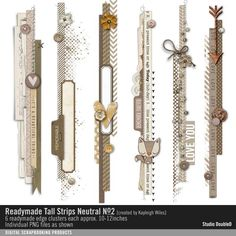 Readymade Tall Strips: Neutral No. 02 element clusters in vertical edges for an instant page or photo border #designerdigitals