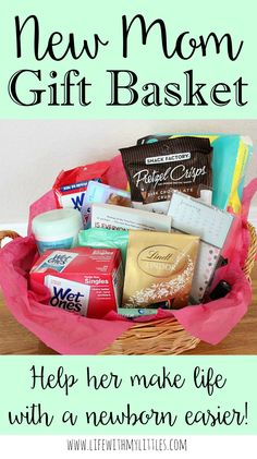 This new mom gift basket is the perfect gift for a new mom! So many great ideas in here, and it will definitely help make life with a newborn easier!
